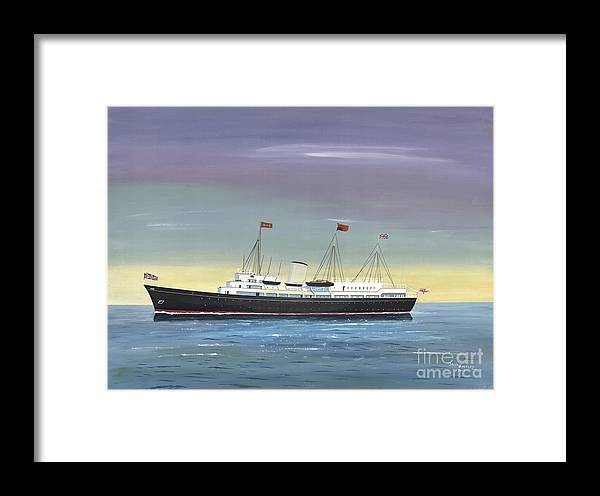 Royal Yacht Britannia Framed Print featuring the painting The Royal Yacht Britannia by John Kinsley