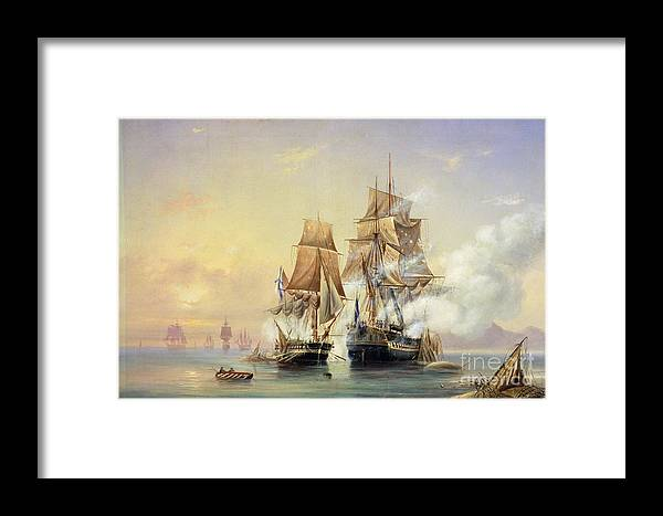 The Framed Print featuring the painting The Russian Cutter Mercury Captures The Swedish Frigate Venus On 21st May 1789 by Aleksei Petrovich Bogolyubov
