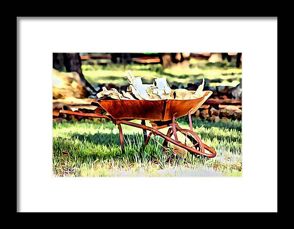 Chopped Wood Framed Print featuring the photograph The Rusted Wheelbarrow by Beauty For God