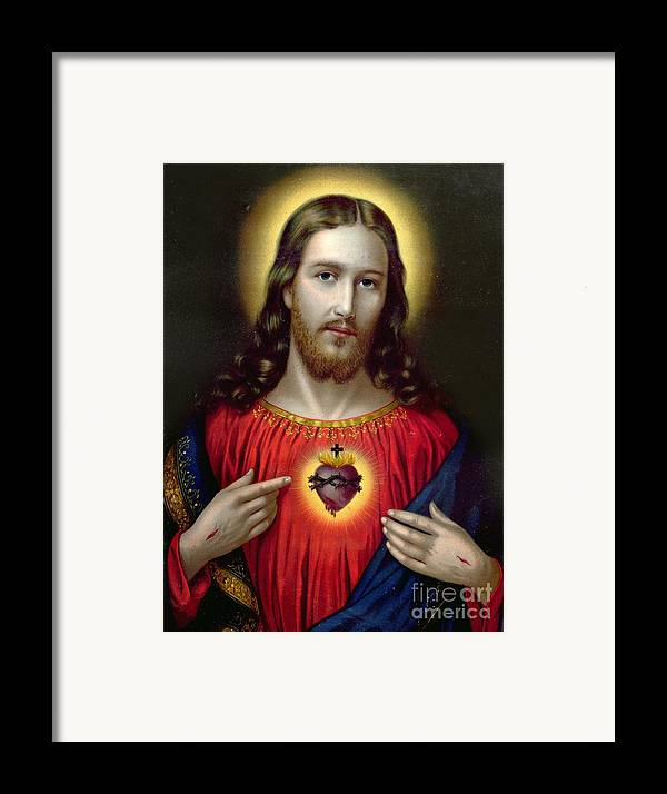 Jesus Framed Print featuring the painting The Sacred Heart Of Jesus by English School