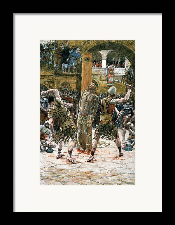 Whips Framed Print featuring the painting The Scourging by Tissot