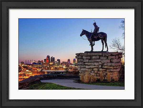 The Scout Overlooking the Kansas City Skyline by Gregory Ballos