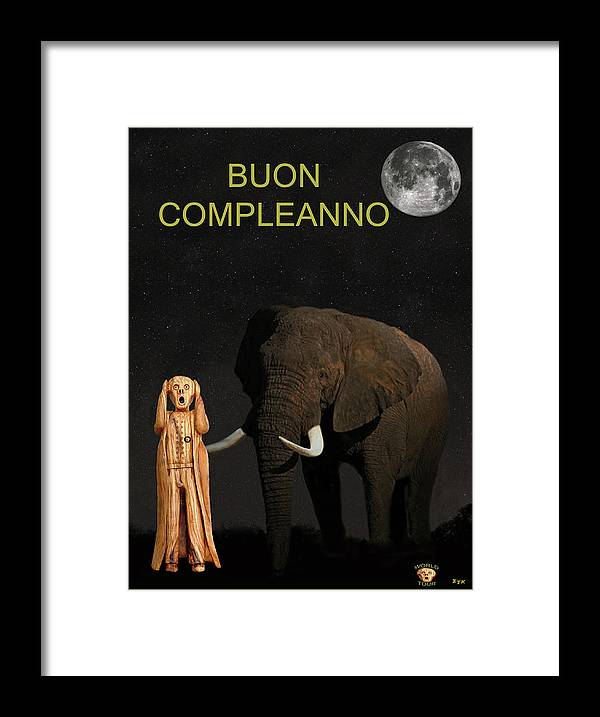 Africa Framed Print featuring the mixed media The Scream World Tour African Elephant Happy Birthday Italian by Eric Kempson