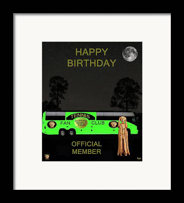 Scream World Tour Framed Print featuring the mixed media The Scream World Tour Tennis Tour Bus Happy Birthday by Eric Kempson