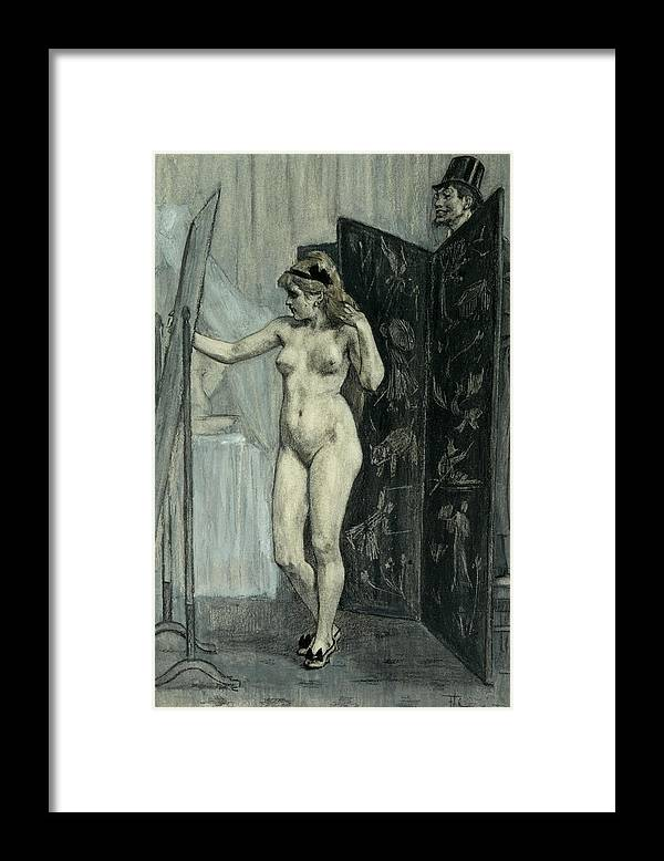 Felicien Rops Framed Print featuring the drawing The Screen by Felicien Rops