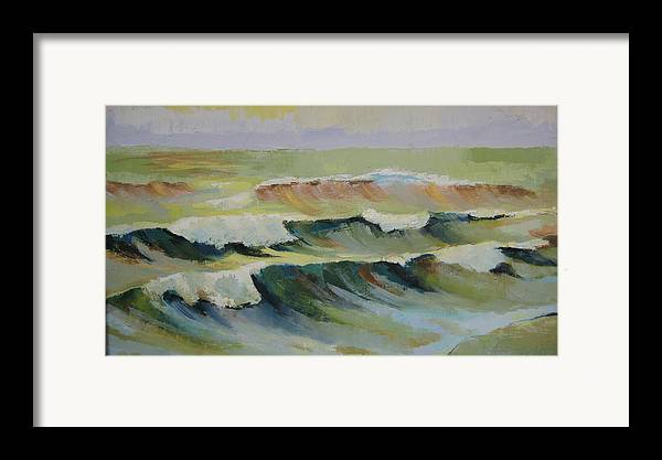 Seascape Framed Print featuring the painting The Sea by Mabel Moyano