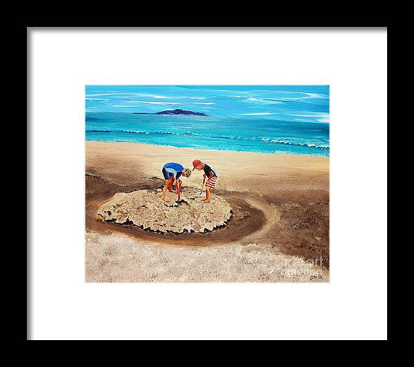 Children Framed Print featuring the painting The Sea Surges Up With Laughter by Eli Gross