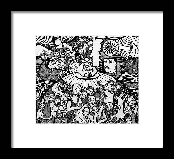 Drawing Framed Print featuring the drawing The Sea Was Conquered The Empire Undone by Jose Alberto Gomes Pereira