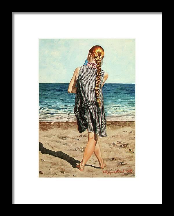 Sea Framed Print featuring the painting The Secret Beauty - La Belleza Secreta by Rezzan Erguvan-Onal