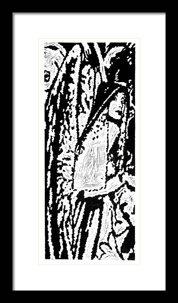 Angel Framed Print featuring the painting The Seeker -- Hand-pulled Linoleum Cut by Lynn Evenson
