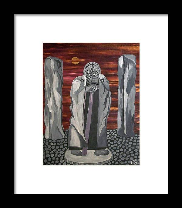 Stone Framed Print featuring the painting The Seer by Carolyn Cable