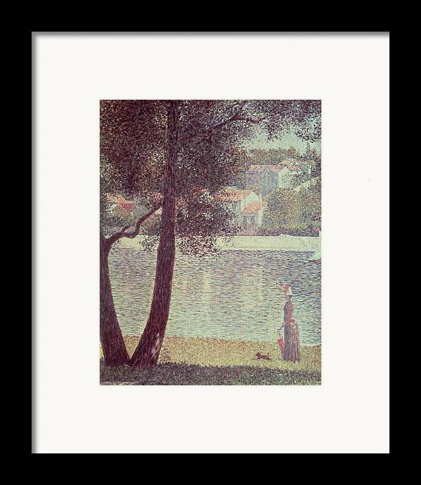 The Framed Print featuring the painting The Seine At Courbevoie by Georges Pierre Seurat