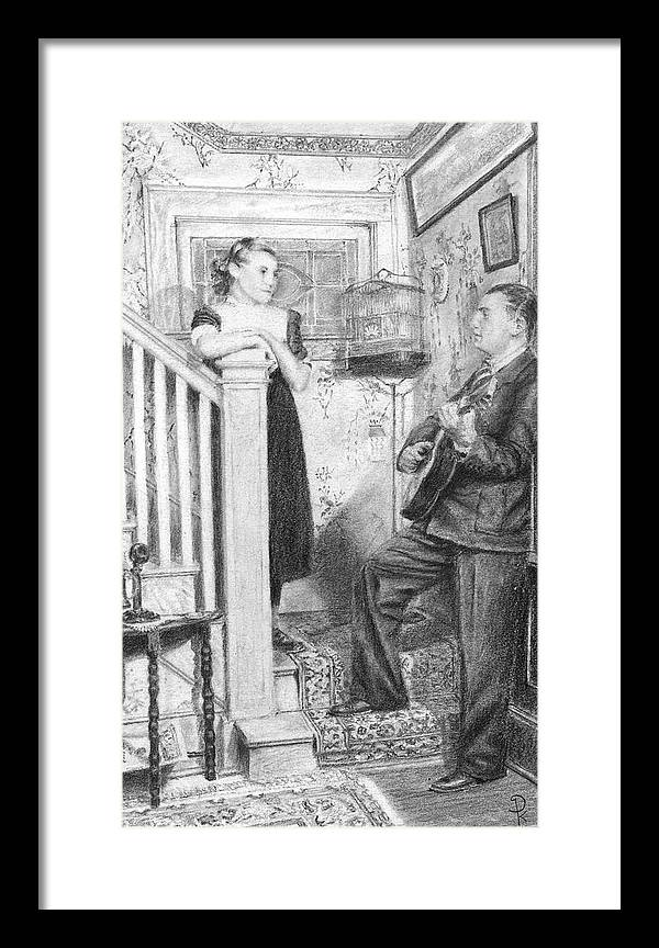 Grand Father Playing The Guitar For My Great Aunt Over 60 Framed Print featuring the drawing The Serenade by Douglas Kochanski