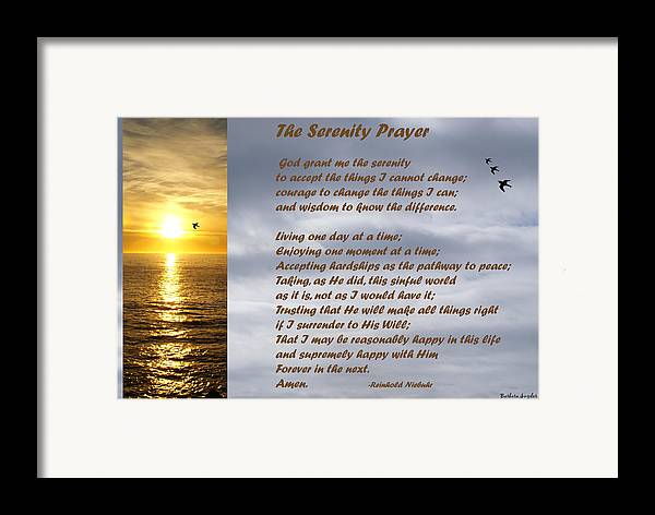Barbara Snyder Framed Print featuring the digital art The Serenity Prayer by Barbara Snyder