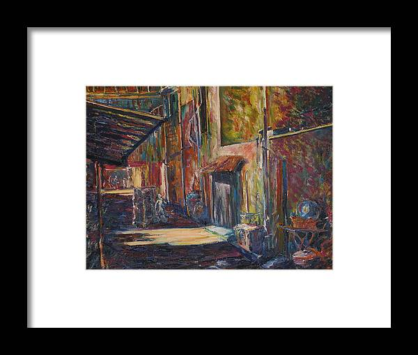 Buildings Framed Print featuring the painting The Shade - Kl Chinatown by Wendy Chua