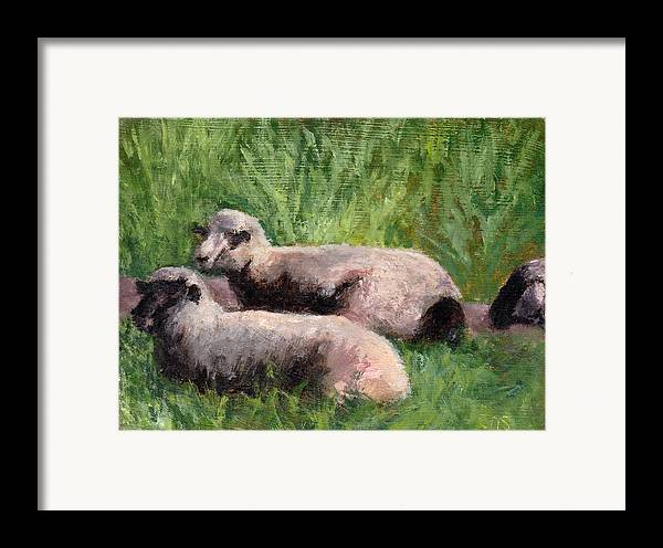 Animals Framed Print featuring the painting The Sheep Are Resting by Chris Neil Smith