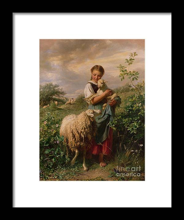 Shepherdess Framed Print featuring the painting The Shepherdess by Johann Baptist Hofner