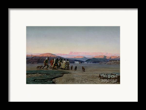 The Framed Print featuring the painting The Shepherds Led By The Star Arriving At Bethlehem by Octave Penguilly lHaridon