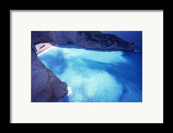Bay; Beach; Day; Europe; Greece; Ionian Framed Print featuring the photograph The Shipwreck by Steve Outram