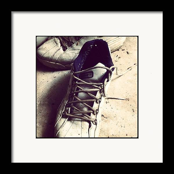 Shoes Framed Print featuring the photograph The Shoes He Left Behind by Dana Coplin