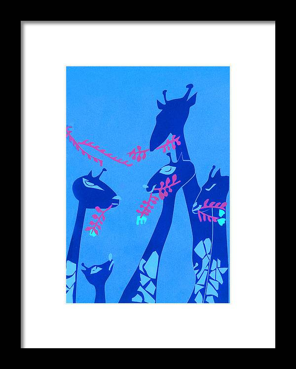 Giraffe Framed Print featuring the mixed media The Short Necked Giraffe 1 by Lily Hymen