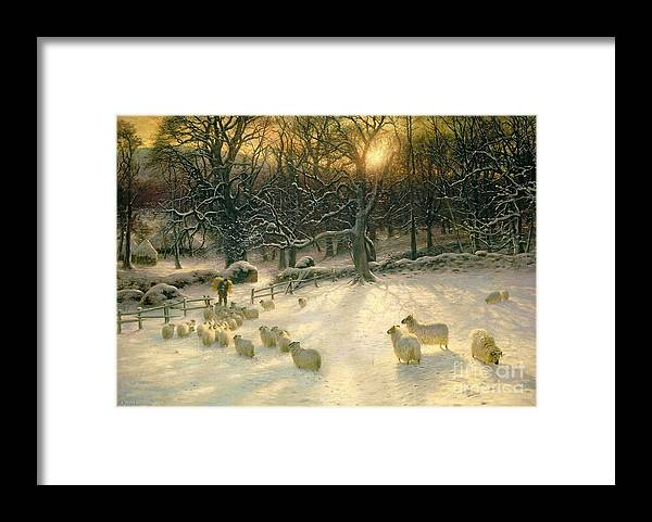 Winter Framed Print featuring the painting The Shortening Winters Day is Near a Close by Joseph Farquharson