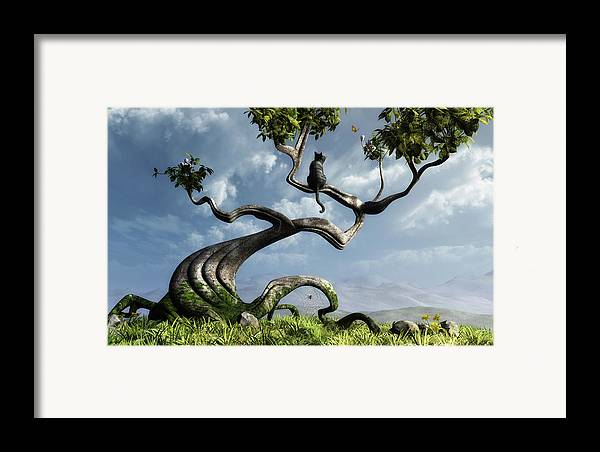 Whimsical Framed Print featuring the digital art The Sitting Tree by Cynthia Decker