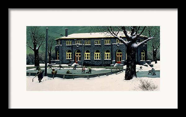 Ice Hockey Framed Print featuring the painting The Skaters by Stephane Poulin