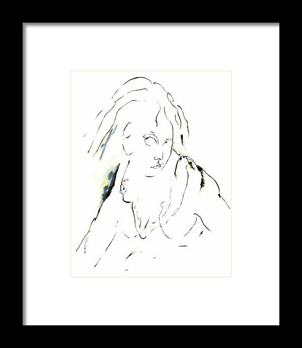 Woman Framed Print featuring the drawing The Skeptic by Lily Hymen