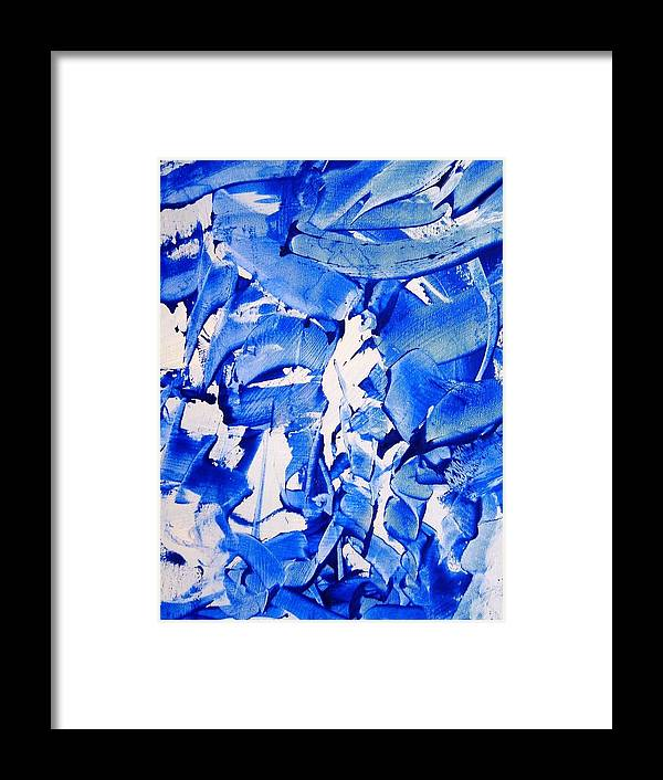 Blue Framed Print featuring the painting The Sky Is Falling by Bruce Combs - REACH BEYOND