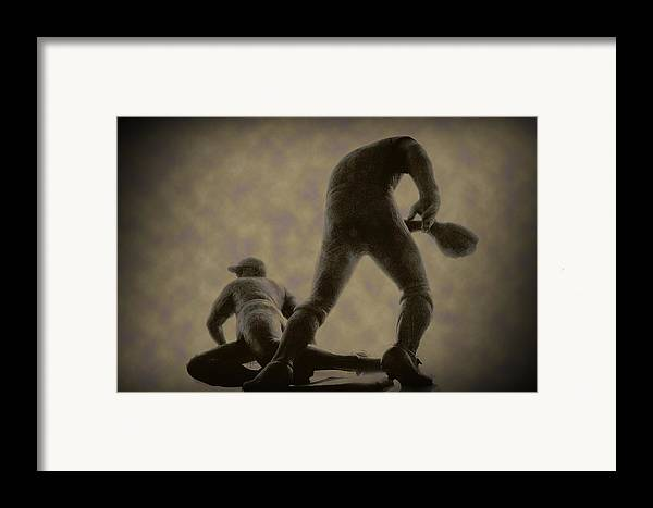 Baseball Framed Print featuring the photograph The Slide - Kick Up Some Dust by Bill Cannon
