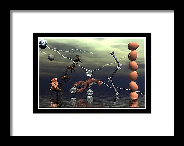 Surreal Art Digital Art Composition Best Picture Canvas Art Eggs Lightning Lobster Water Chairs Columns William Ballester Art Surreal Digital Art Framed Print featuring the digital art The Smile by William Ballester
