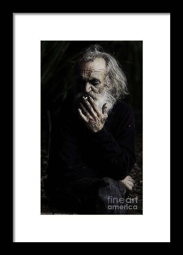 Homeless Male Smoking Smoker Aged Framed Print featuring the photograph The Smoker by Sheila Smart Fine Art Photography