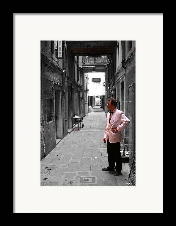 Venice Framed Print featuring the photograph The Smoking Man In Venice by Greg Sharpe