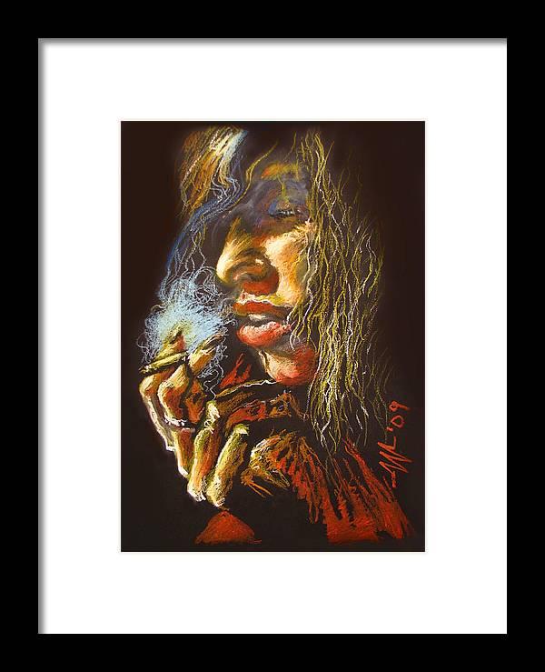 Smoking Framed Print featuring the drawing The Smoking Senorita by Christo Wolmarans
