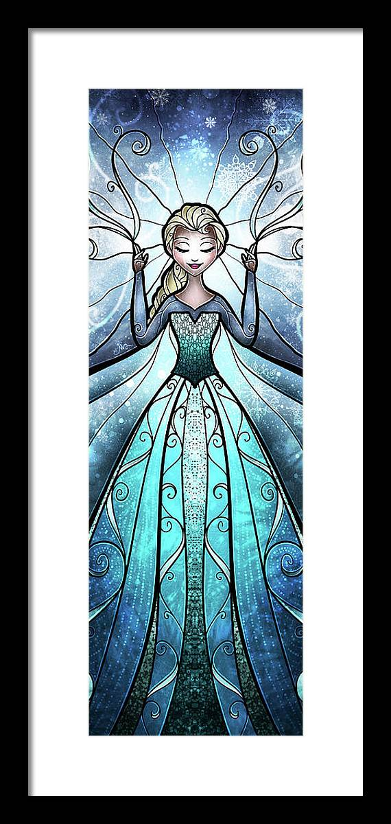Snow Queen Framed Print featuring the digital art The Snow Queen by Mandie Manzano