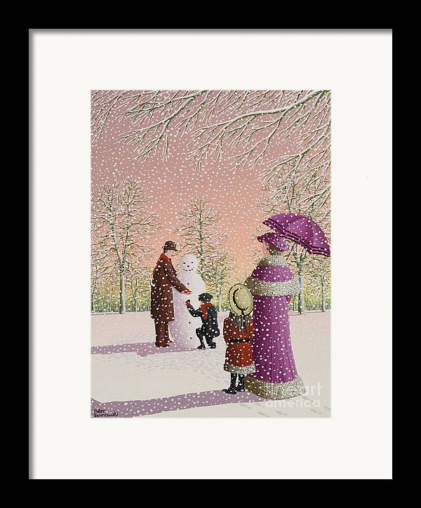 Snowman; Snow; Snowing; Winter; Cold; Woman; Umbrella; Parasol; Child; Children; Man; Playing; Outside; Landscape; Tree Framed Print featuring the painting The Snowman by Peter Szumowski