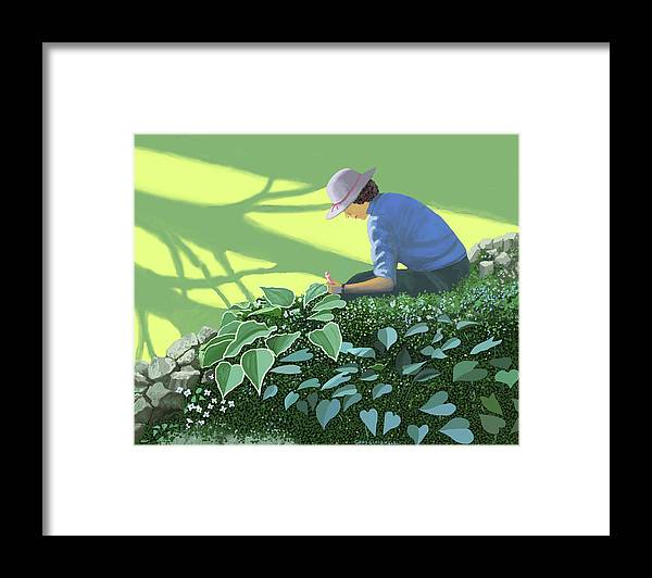 Garden Gardening Shade Sun Sunlight Tree Trees Planting Bulbs Seeds Growing Growth Cultivation Cultivate Spring Springtime Sunshine Sun Gardener Framed Print featuring the painting The solace of the shade garden by Gary Giacomelli