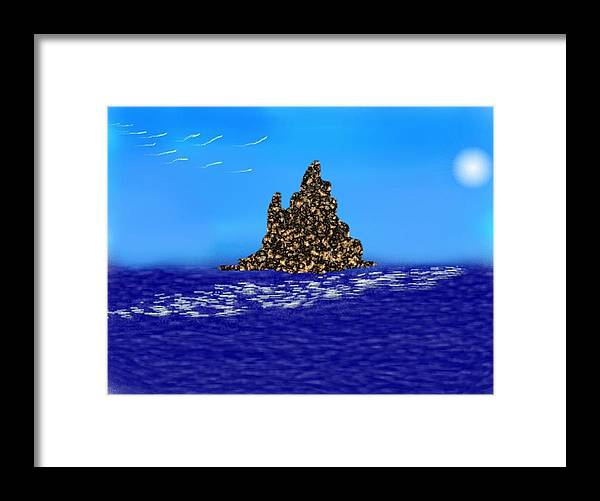 Sky.moon.birds.island.sea.reflection Moon On Water.rest.silence. Framed Print featuring the digital art The Solitude by Dr Loifer Vladimir