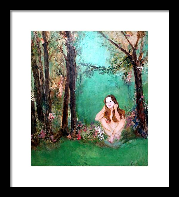 Young Girl Framed Print featuring the painting The Song by Michela Akers