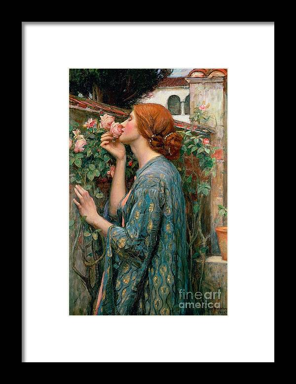 The Framed Print featuring the painting The Soul of the Rose by John William Waterhouse