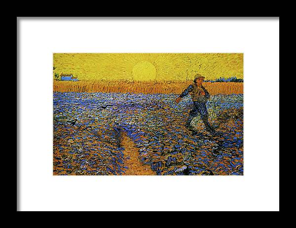 Vincent Van Gogh Framed Print featuring the painting The Sower by Van Gogh