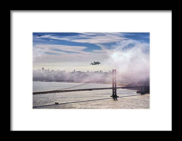 The Space Shuttle Endeavour Over Golden Gate Bridge Septembe Framed Print featuring the photograph The Space Shuttle Endeavour Over Golden Gate Bridge 2012 by David Yu