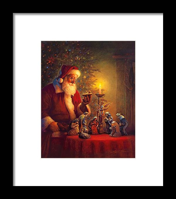 Santa Claus Framed Print featuring the painting The Spirit of Christmas by Greg Olsen