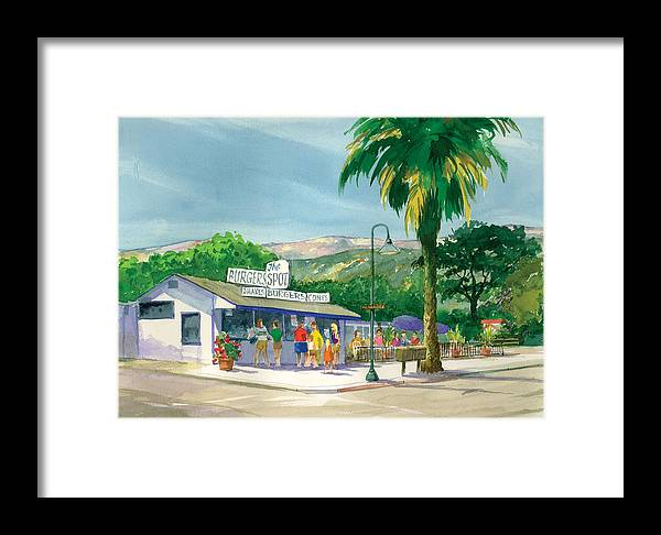 Famous Burger Joint Framed Print featuring the painting The Spot by Ray Cole