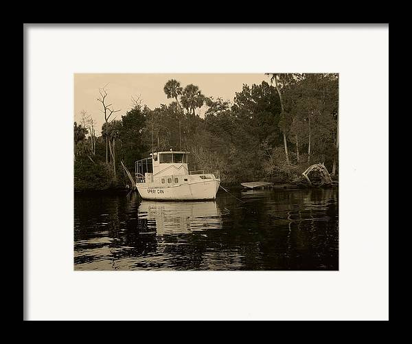Boat Framed Print featuring the painting The Spray Can Sepia by Debbie May