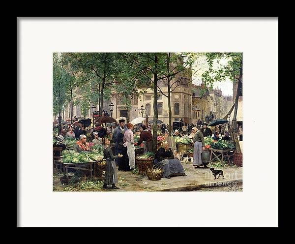 The Square In Front Of Les Halles Framed Print featuring the painting The Square In Front Of Les Halles by Victor Gabriel Gilbert