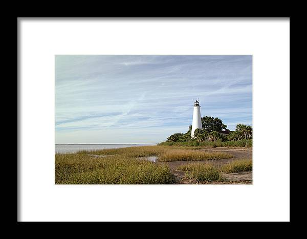 Color Photograph Framed Print featuring the photograph The St Marks Lighthouse by Wayne Denmark