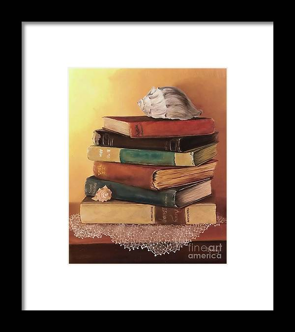Books Framed Print featuring the painting The Stack by Patricia Lang