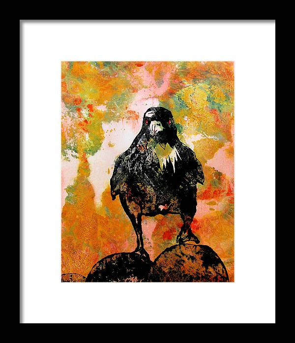 Raven Framed Print featuring the painting The Stillness Broken by Sandy Applegate